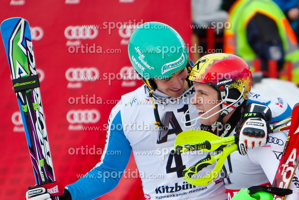 27.01.2013, Ganslernhang, Kitzbuehel, AUT, FIS Weltcup Ski Alpin, Slalom, Herren, 2. Lauf, im Bild v.l.: im Ziel  Felix Neureuther (GER)  mit Marcel Hirscher (AUT) // reacts after 2nd run of the mens Slalom of the FIS Ski Alpine World Cup at the Ganslernhang course, Kitzbuehel, Austria on 2013/01/27. EXPA Pictures © 2013, PhotoCredit: EXPA/ Markus Casna