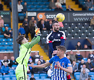 Dundee&rsquo;s Marcus Haber rises above Kilmarnock&rsquo;s Freddie Woodman and Kristoffer Ajer- Kilmarnock v Dundee in the Ladbrokes Scottish Premiership at Rugby Park, Kilmarnock, Photo: David Young<br /> <br />  - &copy; David Young - www.davidyoungphoto.co.uk - email: davidyoungphoto@gmail.com