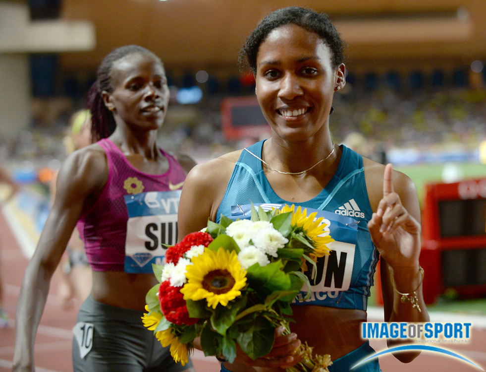 Jul 18, 2014; Fontvieille, MONACO; Ajee Wilson (USA) poses after defeating Eunice Sum (KEN) to win the womens 800m in 1:57.66 in the 2014 Herculis Monaco meeting at Stade Louis II. Photo by Jiro Mochizuki