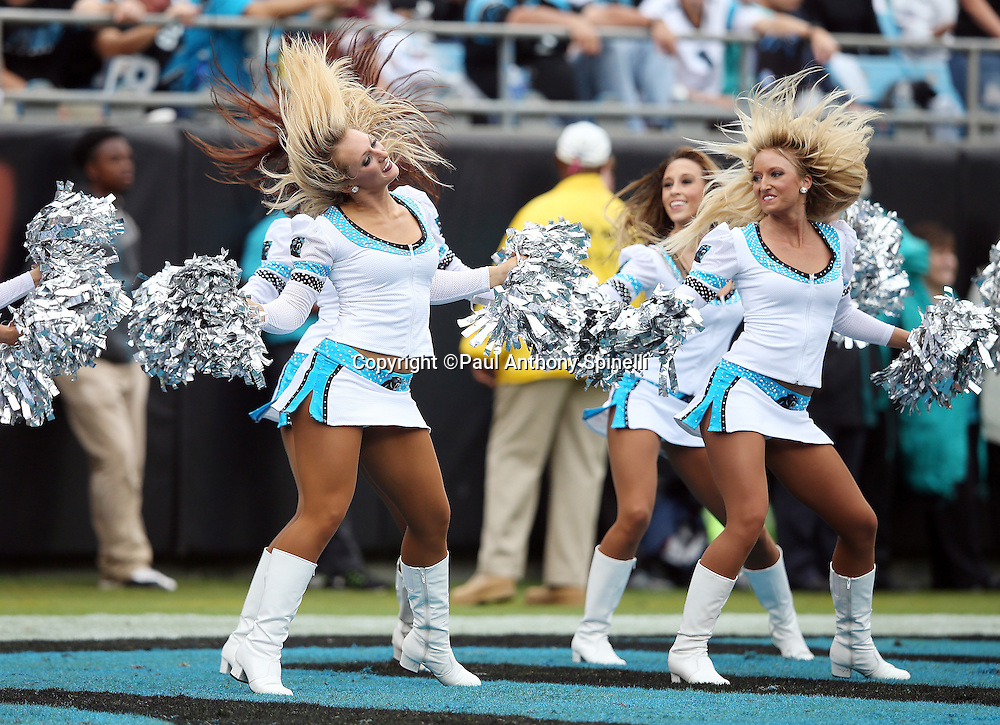 The Carolina Panthers cheerleaders do and end zone dance routine during the Carolina Panthers 2015 NFL week 3 regular season football game against the New Orleans Saints on Sunday, Sept. 27, 2015 in Charlotte, N.C. The Panthers won the game 27-22. (©Paul Anthony Spinelli)