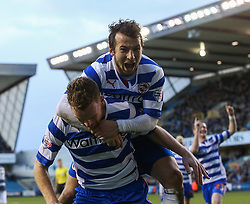 Reading's Alex Pearce celebrates scoring his sides second goal with Adam Le Fondre- Photo mandatory by-line: Robin White/JMP - Tel: Mobile: 07966 386802 01/02/2014 - SPORT - FOOTBALL - The Den - Millwall - Millwall v Reading - Sky Bet Championship