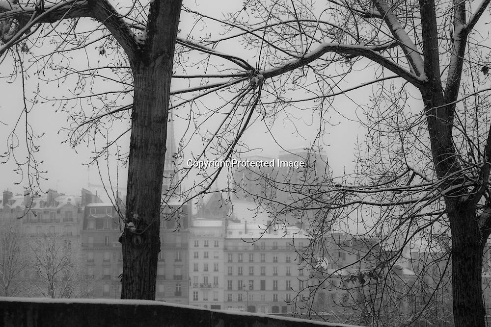 France. Paris. 4th district . Saint louis island , Seine river ,  / La seine notre dame et l'ile de la cite