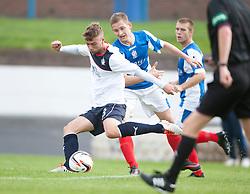 Falkirk's Rory Loy and Cowdenbeath's Thomas O'Brien.<br /> Half time; Cowdenbeath v Falkirk, 14/9/2013.<br /> &copy;Michael Schofield.