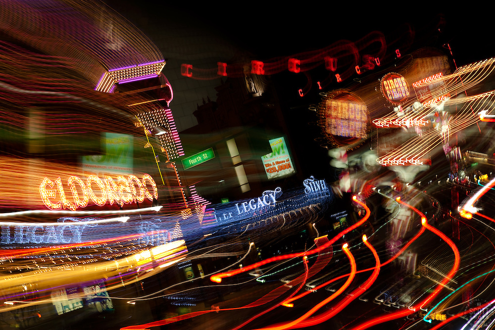"""""""Downtown Reno 5"""" - These signs were photographed in Downtown Reno, Nevada. The effect was obtained in camera by long exposure mixed with intentional camera movement."""