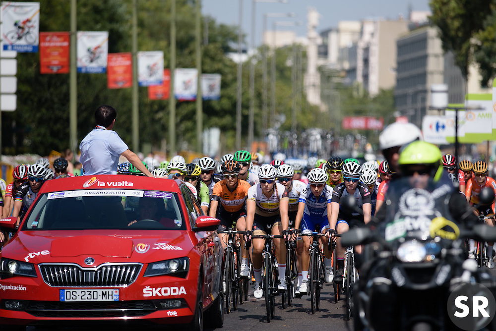 Waiting for the flag to drop at Madrid Challenge by La Vuelta an 87km road race in Madrid, Spain on 11th September 2016.