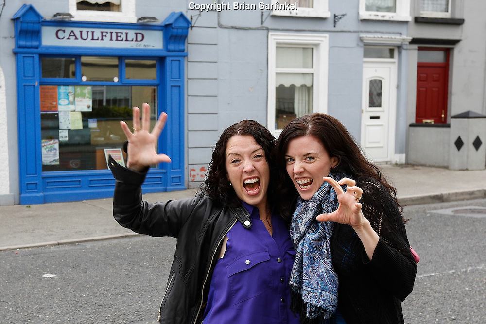 "Allison and Julie Ann in front of a store by the name of ""Caulfield"" near Granlahan, County Roscommon, Ireland on Tuesday, June 25th 2013. (Photo by Brian Garfinkel)"