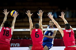 10.09.2014, Centennial Hall, Breslau, POL, FIVB WM, Kuba vs Kanada, 2. Runde, Gruppe F, im Bild Nicholas Hoag canada #18 Adam Simac canada #8 Javier Ernesto Jimenez Scull cuba #4 Dallas Soonias canada #7 // Nicholas Hoag canada #18 Adam Simac canada #8 Javier Ernesto Jimenez Scull cuba #4 Dallas Soonias canada #7 during the FIVB Volleyball Men's World Championships 2nd Round Pool F Match beween Cuba and Canada at the Centennial Hall in Breslau, Poland on 2014/09/10. EXPA Pictures © 2014, PhotoCredit: EXPA/ Newspix/ Sebastian Borowski<br /> <br /> *****ATTENTION - for AUT, SLO, CRO, SRB, BIH, MAZ, TUR, SUI, SWE only*****
