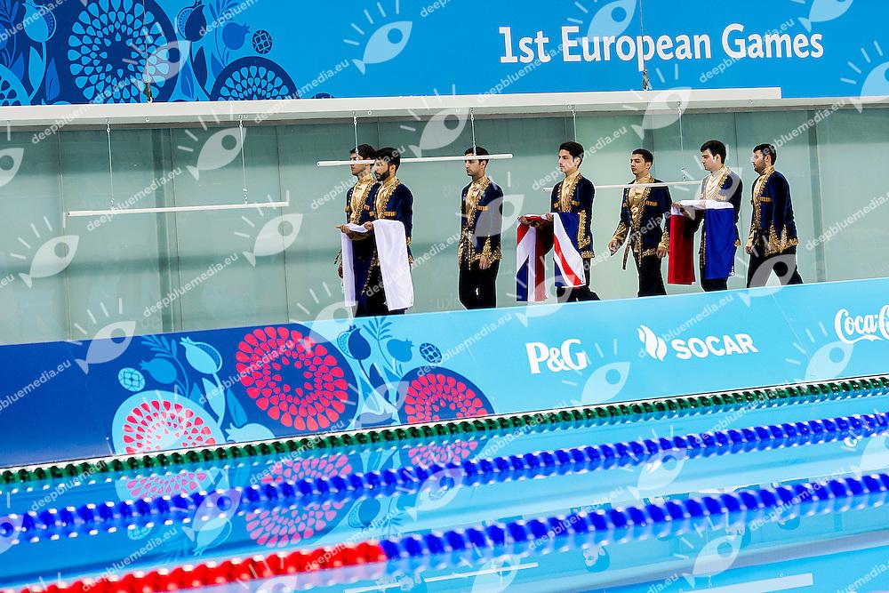 Medals Ceremony<br /> Platform Men Final Diving<br /> 1st European Olympic Games <br /> Baku Azerbaijan 12-28/08/2015<br /> Photo Andrea Masini/Deepbluemedia/Insidefoto