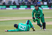 Gary Wilson and Niall O'Brien of Ireland during the One Day International match between England and Ireland at the Brightside County Ground, Bristol, United Kingdom on 5 May 2017. Photo by Andrew Lewis.
