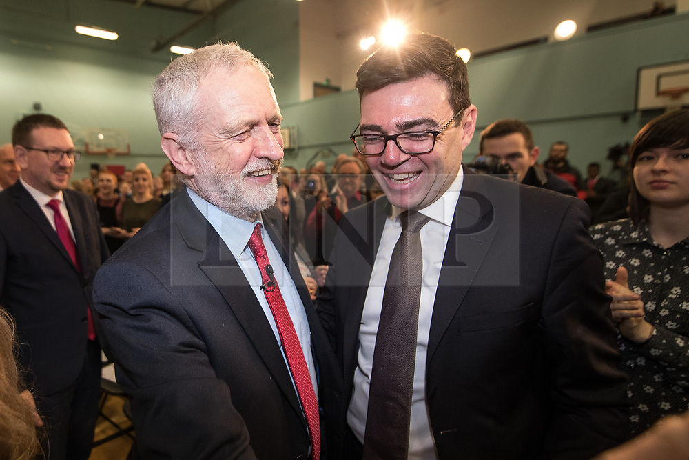 © Licensed to London News Pictures . 22/03/2018. Manchester, UK. JEREMY CORBYN and ANDY BURNHAM . Jeremy Corbyn and Shadow Cabinet members launch the Labour Party's local election campaign at Stretford Sports Village in Trafford . Photo credit: Joel Goodman/LNP