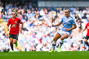 Manchester City Women forward Georgia Stanway (10) passes the ball during the FA Women's Super League match between Manchester City Women and Manchester United Women at the Sport City Academy Stadium, Manchester, United Kingdom on 7 September 2019.