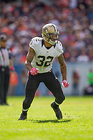 06 October 2013: Safety (32) Kenny Vaccaro of the New Orleans Saints in game action against the Chicago Bears during the first half of the Saints 26-18 victory over the Bears in an NFL Game at Soldier Field in Chicago, IL.