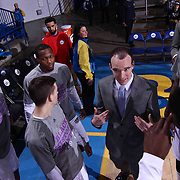 Reno Bighorns Head Coach David Arseneault (CENTER) huddles with his players prior a NBA D-league regular season basketball game between the Delaware 87ers and the Reno Bighorns (Sacramento Kings), Tuesday, Feb. 10, 2015 at The Bob Carpenter Sports Convocation Center in Newark, DEL