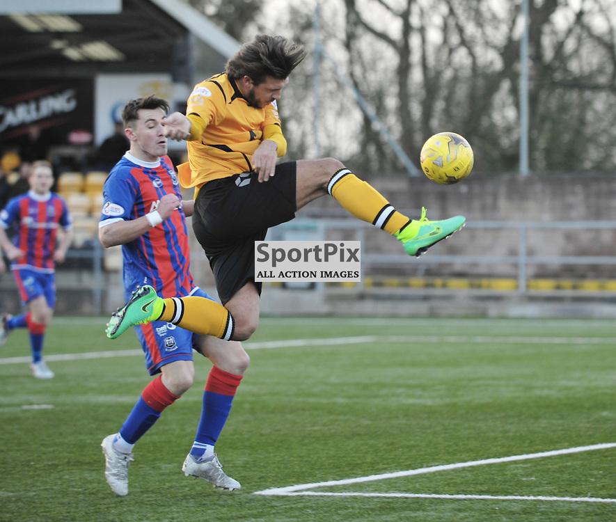 Matty Flynn (Annan Athletic, amber &amp; black) comes close to scoring<br /> <br /> Annan Athletic v Elgin City, SPFL League 2, 30th January 2016<br /> <br /> (c) Alex Todd | SportPix.org.uk