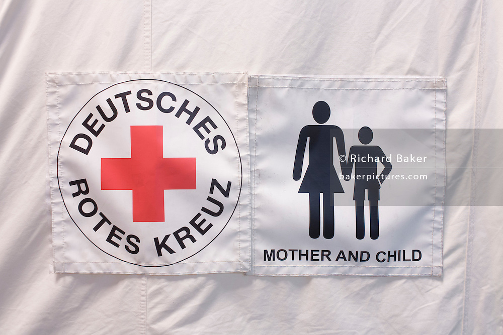 Tents in emergency supplies warehouse, Deutsches Rotes Kreuz (DRK - German Red Cross) at their logistics centre at Berlin-Schönefeld airport.