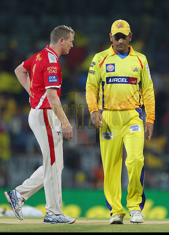 George Bailey Captain of Kings XI Punjab and MS Dhoni captain of the Chennai Superkings  during match 24 of the Pepsi IPL 2015 (Indian Premier League) between The Chennai Superkings and The Kings XI Punjab held at the M. A. Chidambaram Stadium, Chennai Stadium in Chennai, India on the 25th April 2015.<br /> <br /> Photo by:  Ron Gaunt / SPORTZPICS / IPL
