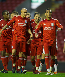 LIVERPOOL, ENGLAND - Thursday, May 5, 2011: Liverpool's Joe Cole celebrates scoring the second goal against Manchester United with fellow scorer Jonjo Shelvey during the FA Premiership Reserves League (Northern Division) match at Anfield. (Photo by David Rawcliffe/Propaganda)