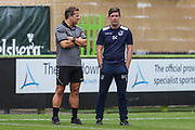 Forest Green Rovers manager, Mark Cooper and Bristol Rovers manager Darrell Clarke during the Pre-Season Friendly match between Forest Green Rovers and Bristol Rovers at the New Lawn, Forest Green, United Kingdom on 21 July 2018. Picture by Shane Healey.