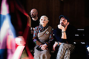 Vivienne Westwood and Andreas Kronthaler watch a run through at AW16 catwalk on day 3 of London Fashion week on 21st February 2016.