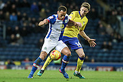Leeds United midfielder Eunan O'Kane (14) challenges Blackburn Rovers Midfielder, Liam Feeney (7) during the EFL Sky Bet Championship match between Blackburn Rovers and Leeds United at Ewood Park, Blackburn, England on 2 February 2017. Photo by Pete Burns.