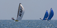 Alister Richardson and Dan Johnson lead the fleet downwind on the second leg of the 2008 POW Race at Weymouth