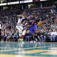 04 March 2012: New York Knicks small forward Carmelo Anthony (7) drives past Boston Celtics small forward Mickael Pietrus (28) during the Boston Celtics 115-111 (OT) victory over the New York Knicks at the TD Garden, Boston, Massachusetts, USA.