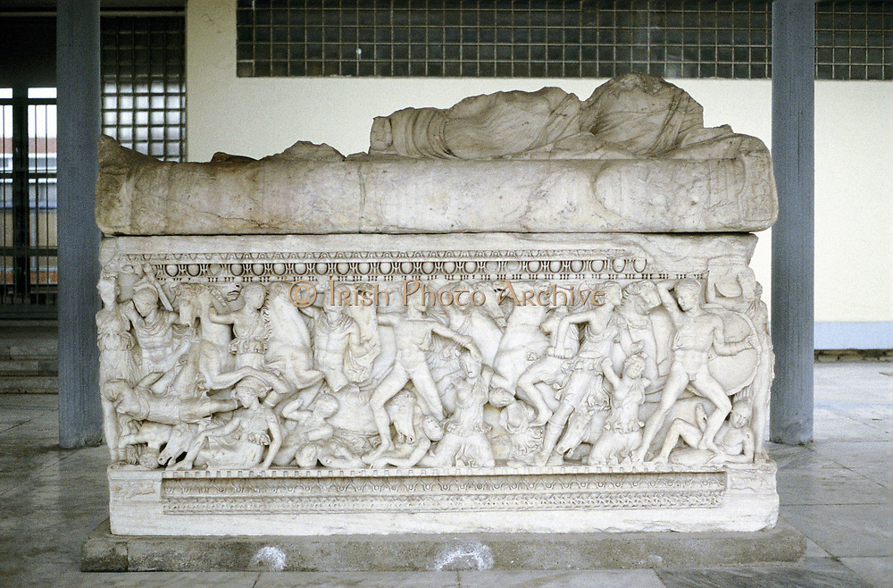 Battle scene from sarcophagus c300 BC. Mounted figure on right is either Alexander the Great or the general Hephestion (Hephaestion) his favourite.  Archaeological Museum of Thessloniki.