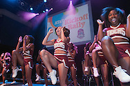 Morehouse College cheerleaders on stage during the AT&T Kickoff Rally at the 9:30 Club in Washington, DC Friday night.  (Photos by Alan Lessig)