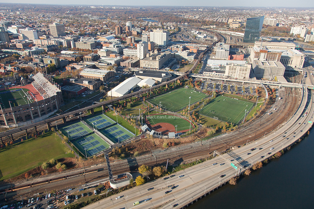 An overview of Penn Park on the edge of the University of Pennsylvania's Campus. Park designed by Michael Van Valkenburgh Associates