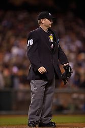 SAN FRANCISCO, CA - MAY 09:  MLB umpire Mike Muchlinski #76 stands on the field during the seventh inning between the San Francisco Giants and the Miami Marlins at AT&T Park on May 9, 2015 in San Francisco, California.  The Miami Marlins defeated the San Francisco Giants 6-2. (Photo by Jason O. Watson/Getty Images) *** Local Caption *** Mike Muchlinski