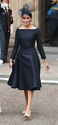 The Duchess of Sussex leaves a service at Westminster Abbey, London, to mark the centenary of the Royal Air Force.