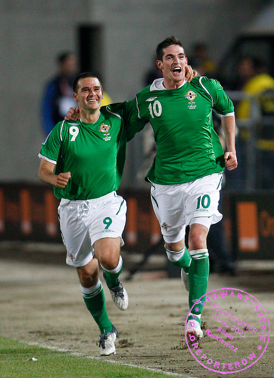 FIFA World Cup.European Qualifying Group 3 ..Poland v Northern Ireland ..Saturday 5 September 2009..Kyle Lafferty with his team-mate David Healy celebrate first goal for Northern Ireland .Photo by : Piotr Hawalej / WROFOTO .