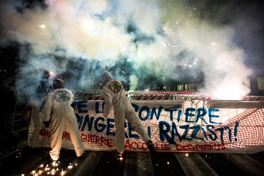 Foto Piero Cruciatti / LaPresse<br /> 28-01-2016 Milano, Italia<br /> Cronaca<br /> Protesta &ldquo;Mai con Salvini &amp; LePen&rdquo;<br /> Nella foto: Protesta &ldquo;Mai con Salvini &amp; LePen&rdquo;<br /> Photo Piero Cruciatti / LaPresse<br /> 28-01-2016 Milano, Italy<br /> News<br /> Protest against meeting of Matteo Salvini with Marine LePen<br /> In the Photo: Protest against meeting of Matteo Salvini with Marine LePen
