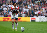 Japan full back Ayumu Goromaru prepares to kick 3 points during the Rugby World Cup Pool B match between Samoa and Japan at stadium:mk, Milton Keynes, England on 3 October 2015. Photo by David Charbit.