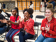 """21 OCTOBER 2019 - DES MOINES, IOWA: Students applaud Senator Elizabeth Warren while she talks about providing a pathway for citizenship for """"Dreamers"""" (young people protected by President Obama's DACA program) during an assembly at Roosevelt High School in Des Moines. Sen. Warren talked to students about her journey from childhood in Oklohoma to running for the US Presidency. Sen. Warren is campaigning to be the Democratic nominee for the US presidency in Iowa this week. Iowa traditionally hosts the the first selection event of the presidential election cycle. The Iowa Caucuses will be on Feb. 3, 2020.                  PHOTO BY JACK KURTZ"""