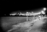The beach at Pattaya near midnight.  Thailand.