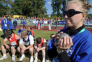 ATHLETICS AT AWF STADIUM IN WARSAW..SPECIAL OLYMPICS EUROPEAN SUMMER GAMES - WARSAW 2010..THE IDEA OF SEPCIAL OLYMPICS IS THAT, WITH APPROPRIATE MOTIVATION AND GUIDANCE, EACH PERSON WITH INTELLECTUAL DISABILITIES CAN TRAIN, ENJOY AND BENEFIT FROM PARTICIPATION IN INDIVIDUAL AND TEAM COMPETITIONS...WARSAW , POLAND , SEPTEMBER 20, 2010..MANDATORY CREDIT:.PHOTO BY ADAM NURKIEWICZ / MEDIASPORT