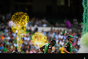 14th January 2019, Melbourne Cricket Ground, Melbourne, Australia; Australian Big Bash Cricket, Melbourne Stars versus Hobart Hurricanes;  Dwayne Bravo and Jackson Bird of the Melbourne Stars walks out to field
