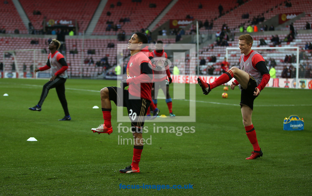 Sunderland players warm up prior to the Premier League match at the Stadium Of Light, Sunderland<br /> Picture by Christopher Booth/Focus Images Ltd 07711958291<br /> 03/12/2016