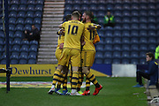 Fulham FC celebrates going 1-0 up during the Sky Bet Championship match between Preston North End and Fulham at Deepdale, Preston, England on 5 April 2016. Photo by Pete Burns.
