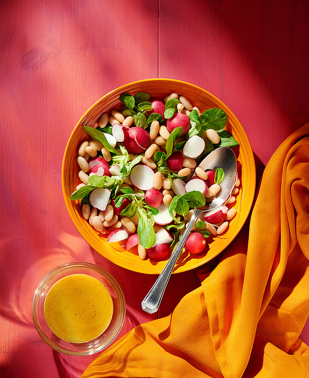 Radish And Bean Summer Salad with Honey and Mustard Dressing