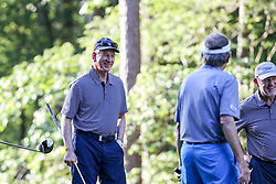 Tommy Tuberville interacts with Steve Spurrier and Chan Gailey during the Chick-fil-A Peach Bowl Challenge at the Ritz Carlton Reynolds, Lake Oconee, on Tuesday, April 30, 2019, in Greensboro, GA. (Karl L. Moore via Abell Images for Chick-fil-A Peach Bowl Challenge)