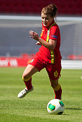 LLANELLI, WALES - Thursday, August 22, 2013: Wales' Angharad James in action against England during the Group A match of the UEFA Women's Under-19 Championship Wales 2013 tournament at Parc y Scarlets. (Pic by David Rawcliffe/Propaganda)