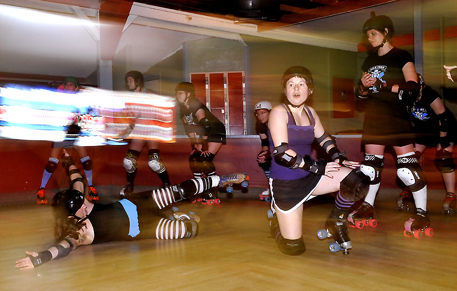 The Sick Town Derby Dames roller derby team practice in 2008.. (Photo by Casey Campbell)