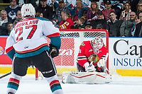 KELOWNA, CANADA - APRIL 14: Cole Kehler #31 of the Portland Winterhawks makes a second period save against the Kelowna Rockets on April 14, 2017 at Prospera Place in Kelowna, British Columbia, Canada.  (Photo by Marissa Baecker/Shoot the Breeze)  *** Local Caption ***