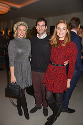 21 November 2019 - Natalie Rushdie, Zafar Rushdie and Rosie Tapner at the launch of Sam's Riverside Restaurant, 1 Crisp Walk, Hammersmith hosted by owner Sam Harrison, Edward Taylor and Jack Brooksbank.<br /> <br /> Photo by Dominic O'Neill/Desmond O'Neill Features Ltd.  +44(0)1306 731608  www.donfeatures.com