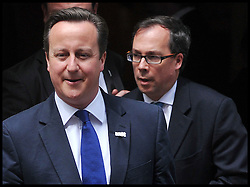 David Cameron leaves No10 Downing St with his Chief of Staff Ed Llewellyn, Thursday August 2, 2012. Photo by Andrew Parsons/i-Images.All Rights Reserved ©Andrew Parsons/i-Images.See Instructions