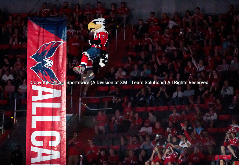 WASHINGTON, DC - MAY 21: Capitals mascot Slapstick lowered to the ice before game 6 of the NHL Eastern Conference  Finals between the Washington Capitals and the Tampa Bay Lightning, on May 21, 2018, at Capital One Arena, in Washington D.C. The Caps defeated the Lightning 3-0<br /> (Photo by Tony Quinn/Icon Sportswire)
