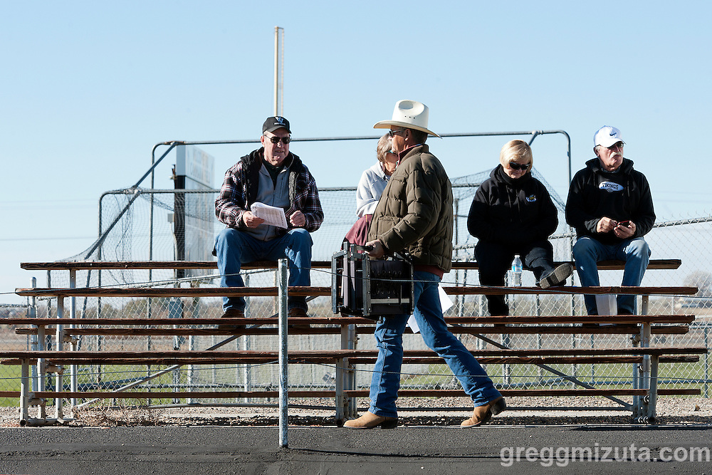 Mike Maupin, one of the early arrivers for the Vale - Cascade Christian 3A quarterfinal playoff game at Frank Hawley Stadium, Vale, Oregon, Saturday, November 14, 2015. Vale won 48-38.