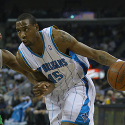 08 February 2009: New Orleans Hornets guard Rasual Butler (45) drives past Minnesota Timberwolves guard Randy Foye (4) during a NBA game between the Minnesota Timberwolves and the New Orleans Hornets at the New Orleans Arena in New Orleans, LA.